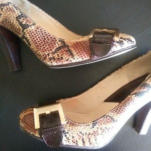 Faux Reptile Leather Pumps
